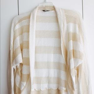 Gold & White Striped batwing Open loose Cardigan